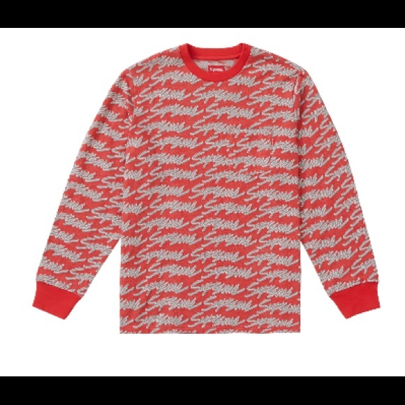 1ed14f53761e Supreme Shirts | Signature Script Logo Ls Pocket Tee Red | Poshmark